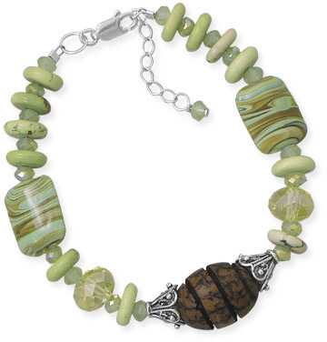 "7""+1"" Multistone and Wood Bead Bracelet 925 Sterling Silver"