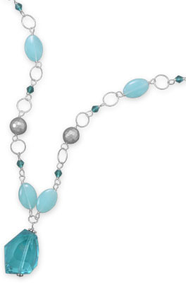 "16""+2"" Multibead Necklace with Teal Crystal Drop 925 Sterling Silver"