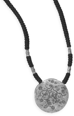 "16""-27"" Adjustable Cord Necklace with Oxidized Pendant 925 Sterling Silver"