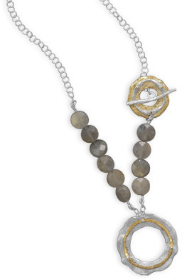 "20.5"" Two Tone Toggle Necklace with Labradorite 925 Sterling Silver - DISCONTINUED"