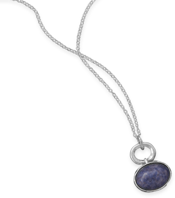 "18"" Necklace with Sodalite Drop 925 Sterling Silver"