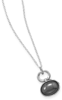 "18"" Necklace with Hematite Drop 925 Sterling Silver"