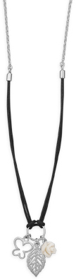 "17.5"" Multicharm Drop Necklace 925 Sterling Silver"