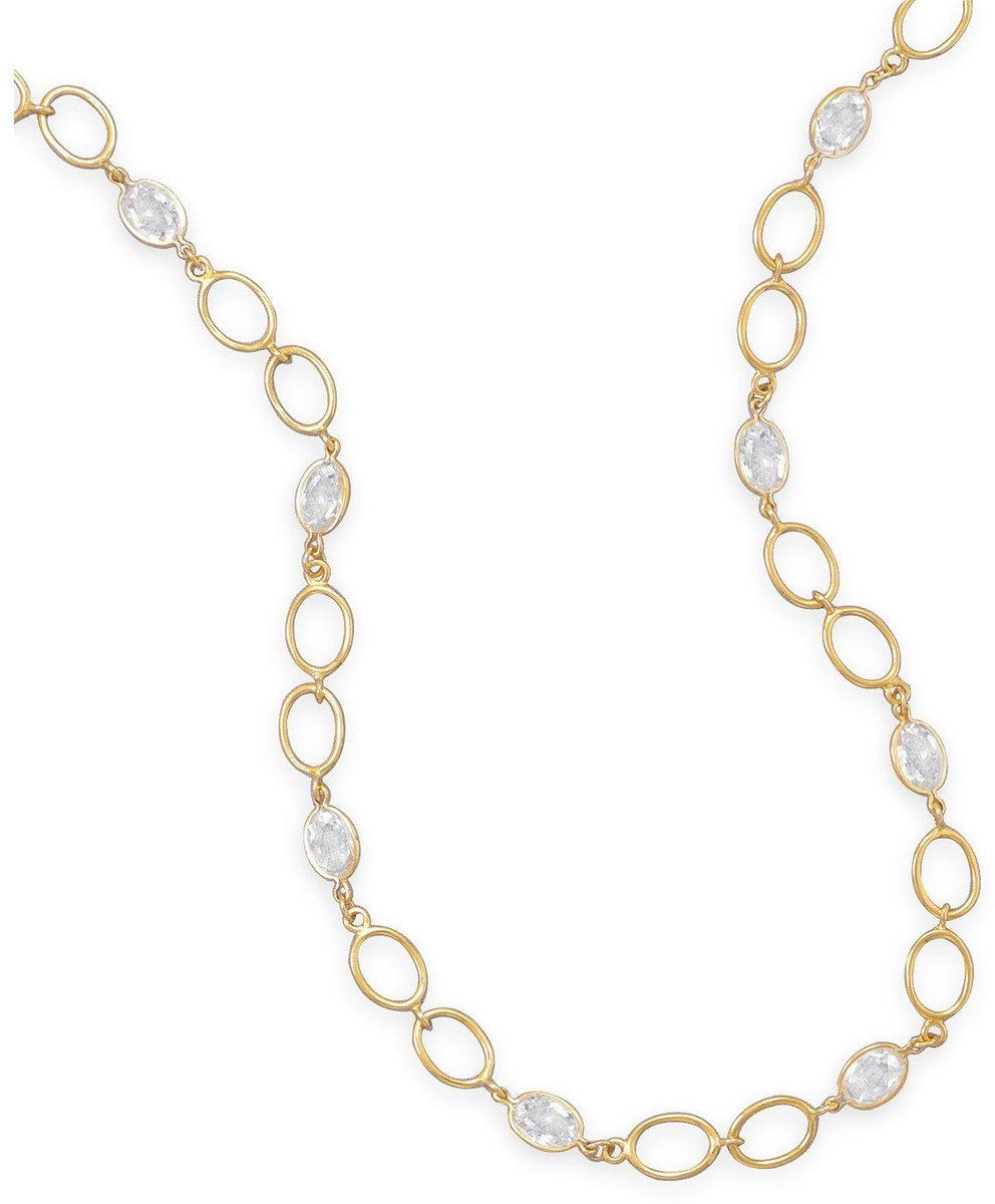 "16""+3"" 14 Karat Gold Plated CZ Necklace 925 Sterling Silver"