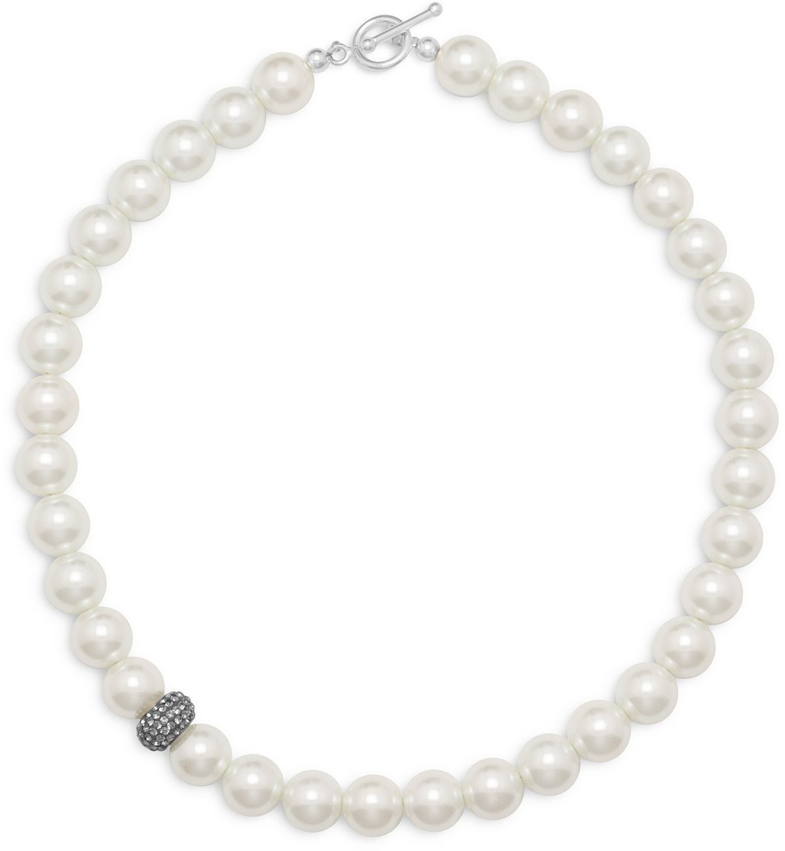 "17.5"" White Glass Pearl and Crystal Necklace 925 Sterling Silver"
