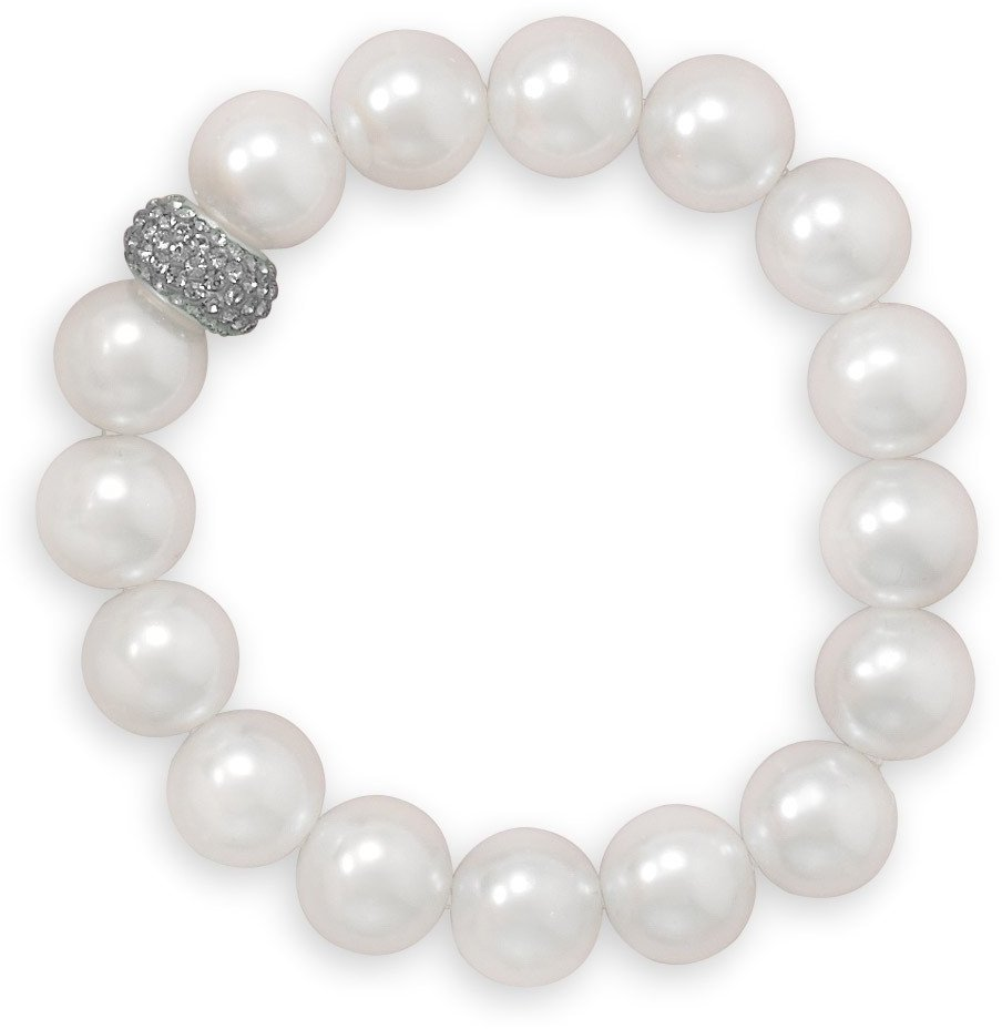 "7"" White Glass Pearl and Crystal Stretch Bracelet 925 Sterling Silver"