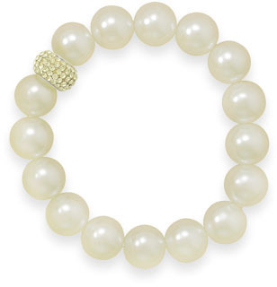 "7"" Yellow Glass Pearl and Crystal Stretch Bracelet 925 Sterling Silver"