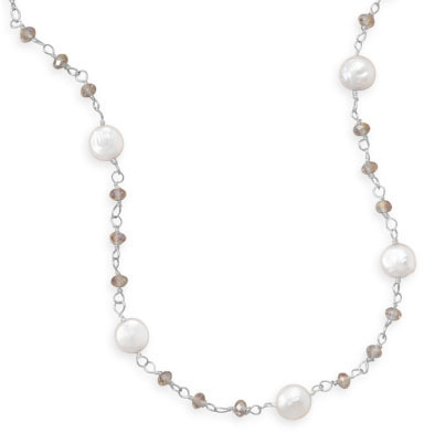 "16.5""+2"" Cultured Freshwater Coin Pearl and Crystal Necklace 925 Sterling Silver"