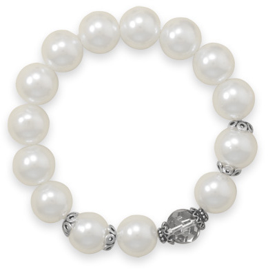 Glass Pearl and Crystal Stretch Bracelet 925 Sterling Silver