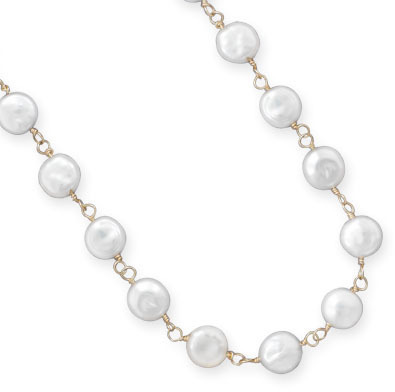 "16""+2"" 14/20 Gold Filled Cultured Freshwater Coin Pearl Necklace - DISCONTINUED"