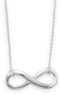 Sterling silver infinity necklaces are popular with female our female customers.