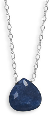 "16.5""+2"" Blue Jade Drop Necklace 925 Sterling Silver"