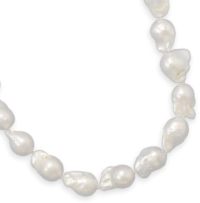 "18"" AB Quality Baroque Pearl Necklace 925 Sterling Silver"