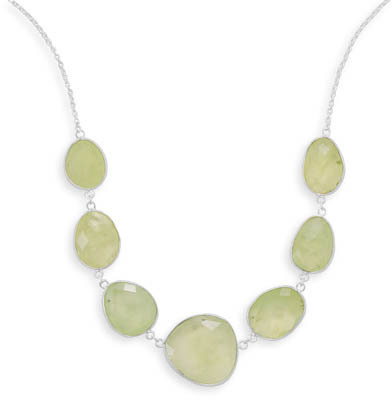 "18""+2"" Prehnite Necklace 925 Sterling Silver"