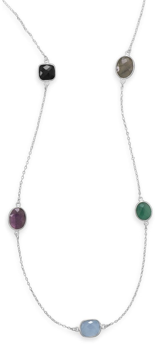 "22"" Multistone Necklace 925 Sterling Silver"