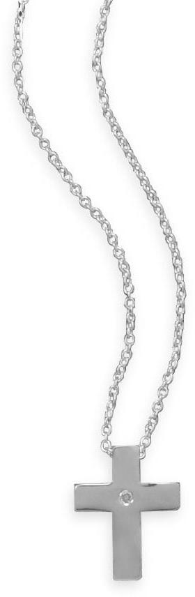"18"" Rhodium Plated Cross Necklace with Diamond Accent 925 Sterling Silver"