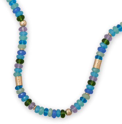 "17""+ 2"" Glass Bead Necklace 925 Sterling Silver"
