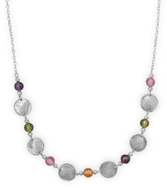 "18"" Necklace with Multicolor Glass Beads and Discs 925 Sterling Silver"