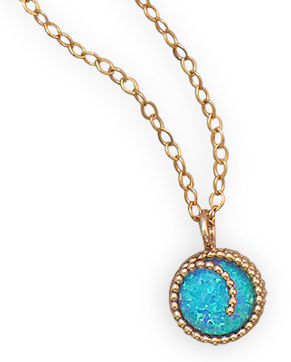 "16"" + 2"" 12/20 Gold Filled Synthetic Opal Necklace"