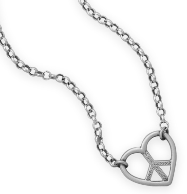 "16"" + 2"" Heart with Peace Sign Necklace 925 Sterling Silver"