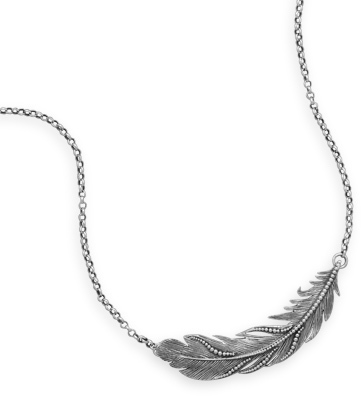 "16"" + 2"" Oxidized Feather Necklace 925 Sterling Silver"
