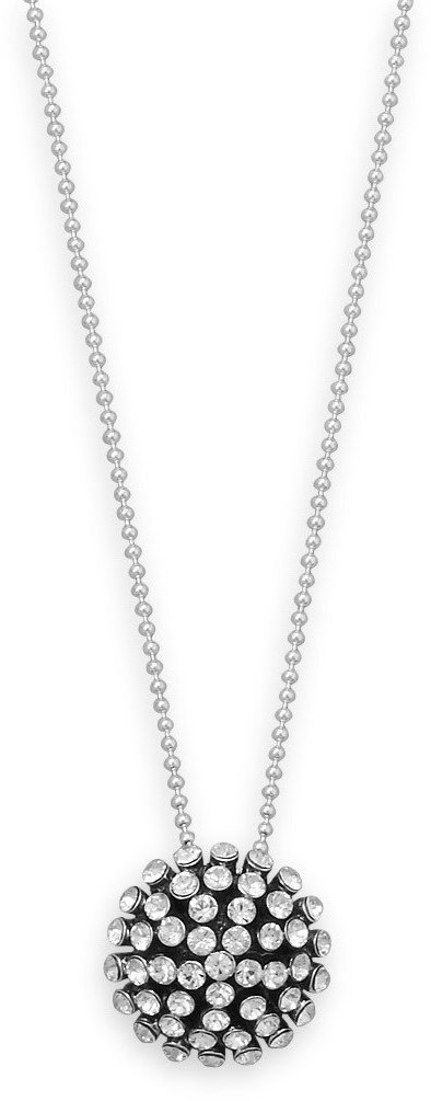 "16"" Necklace with Oxidized Domed Crystal Pendant 925 Sterling Silver"