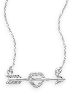 "16"" Arrow with CZ Heart Necklace 925 Sterling Silver"