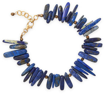 "7""+1"" 14/20 Gold Filled Lapis Bracelet"