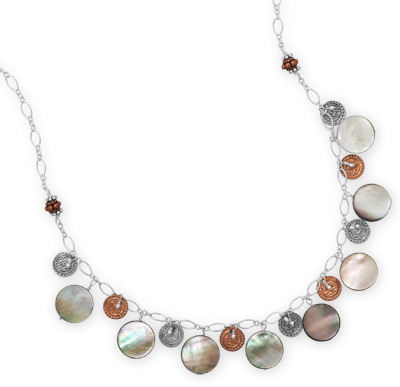 "16""+1"" Two Tone Shell Necklace 925 Sterling Silver"
