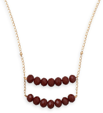 "20"" 14/20 Gold Filled Burgundy Glass Ladder Necklace"