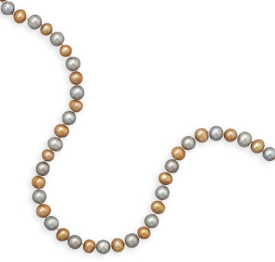 "20.5"" Gold and Grey Cultured Freshwater Pearl Necklace 925 Sterling Silver"