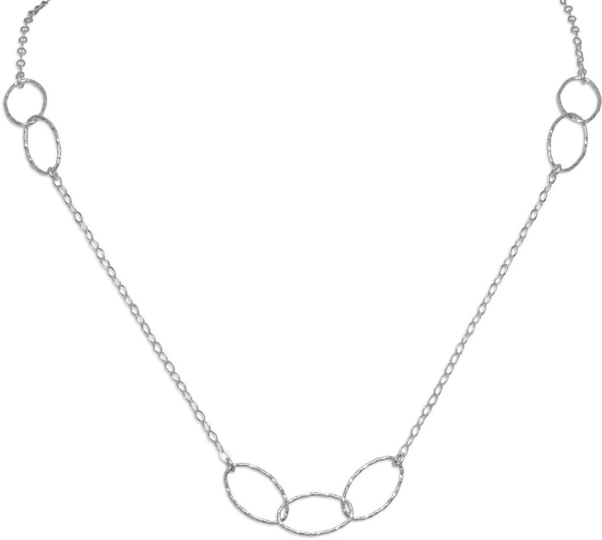 "27.5"" Rhodium Plated Multisize Oval Link Necklace 925 Sterling Silver"