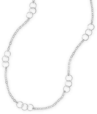 "28"" Rhodium Plated Multisize Link Necklace 925 Sterling Silver"
