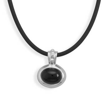 "16"" Black Rubber Necklace with Black Onyx Pendant 925 Sterling Silver"