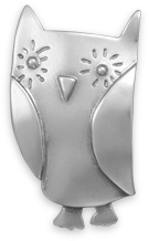 Oxidized Owl Pin/Pendant 925 Sterling Silver - DISCONTINUED