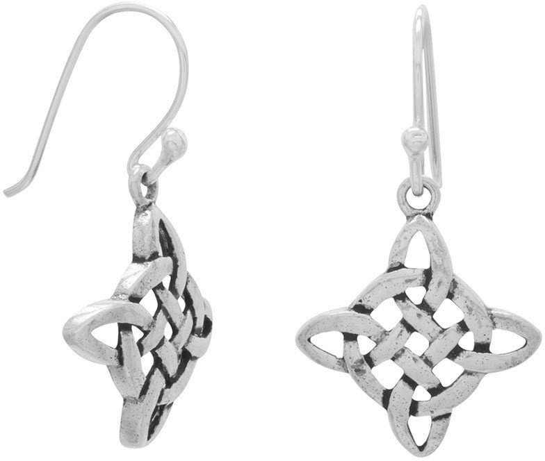 Diamond Shape Celtic Style French Wire Earrings 925 Sterling Silver