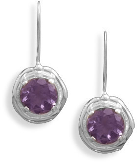 Amethyst French Wire Earrings 925 Sterling Silver