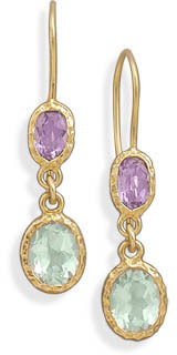 14 Karat Gold Plated Amethyst French Wire Earrings 925 Sterling Silver