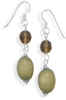 Glass and Wood Bead Earrings 925 Sterling Silver