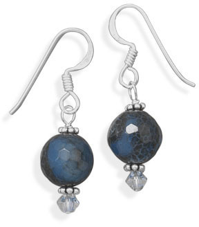 Blue Fire Agate and Crystal Earrings 925 Sterling Silver
