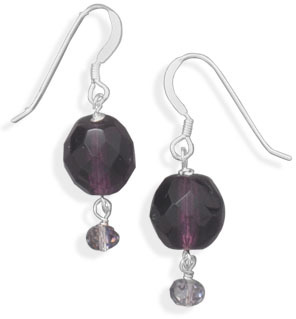 Purple Glass Earrings 925 Sterling Silver - DISCONTINUED