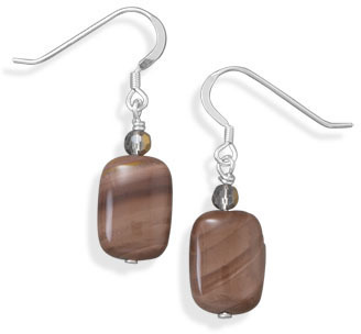 Fall Jasper and Crystal Earrings 925 Sterling Silver