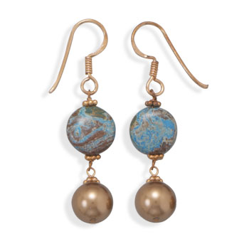 Copper Earrings with Jasper and Shell Pearl Drop - DISCONTINUED