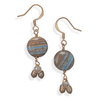 Jasper and Cultured Freshwater Pearl Copper Earrings - DISCONTINUED