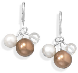 Cultured Freshwater Pearl and Shell Drop Earrings 925 Sterling Silver - DISCONTINUED
