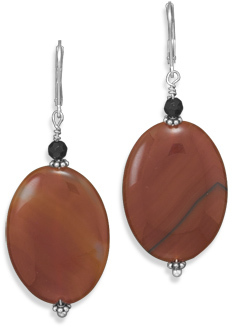 Carnelian with Black Onyx Earrings 925 Sterling Silver - DISCONTINUED