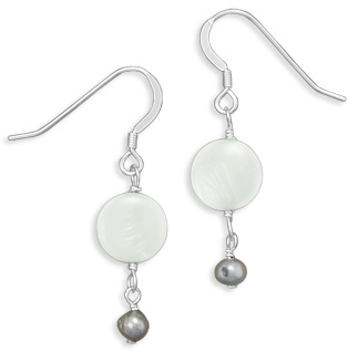 Green Shell and Cultured Freshwater Pearl Earrings 925 Sterling Silver