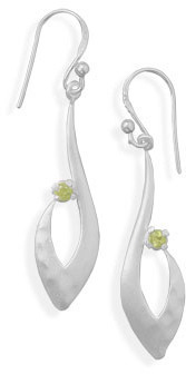 Matte Finish Peridot Earrings 925 Sterling Silver