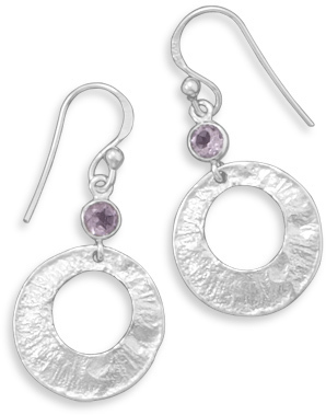 Textured Earrings with Amethyst 925 Sterling Silver