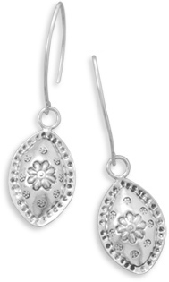 Oxidized Flower Design Drop Earrings 925 Sterling Silver